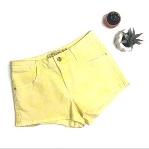 [Zara] Canary Yellow Denim Mini Shorts Size 2
